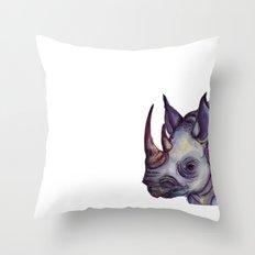 Rhino Blues Throw Pillow