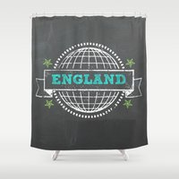 england Shower Curtains featuring England by My Little Thought Bubbles