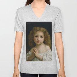 """William-Adolphe Bouguereau """"Little Girl"""" Unisex V-Neck"""