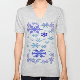 BLUE & PURPLE WINTER SNOWFLAKES ART ABSTRACT Unisex V-Neck