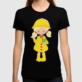 Girl In Raincoat, Boots, Blonde Hair, Frog T-shirt
