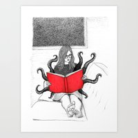 reading Art Prints featuring Reading by stardixa