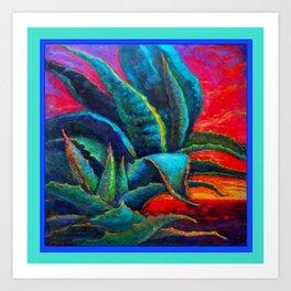 DECORATIVE  BLUE DESERT AGAVE RED DAWN DESIGN Art Print