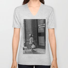 'Strictly No Elephants' vintage humorous child verses the world black and white photograph / black and white photography Unisex V-Neck