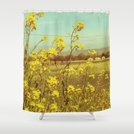 Spring Breeze (Mustard Plants and Cottage) Shower Curtain