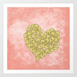Gold butterflies heart and peach texture Art Print