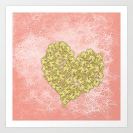 Gold butterflies heart and peach texture Art Print