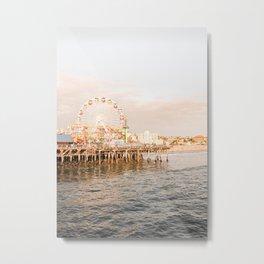 Sunset At Santa Monica Pier Ferris Wheel Photo   Pastel Sky California Beach Art Print   Travel Photography Metal Print
