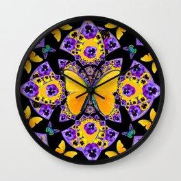 GOLDEN BUTTERFLIES PURPLE PANSIES BLACK DESIGN Wall Clock