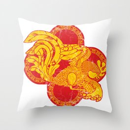 Rooster fire Throw Pillow