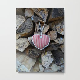Valentine fabric heart against natural logs Metal Print