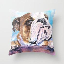 English Bulldog Watercolor   Pillow Cover   Dogs   Home Decor   Custom Dog Pillow   Dog Mom  Bulldog Throw Pillow