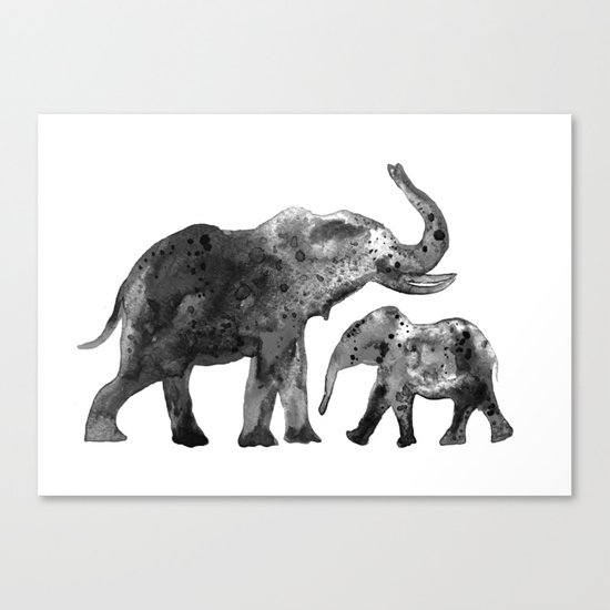 Elephants, black and white Canvas Print
