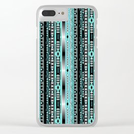 Abstract ethnic pattern in turquoise , black and white . Clear iPhone Case