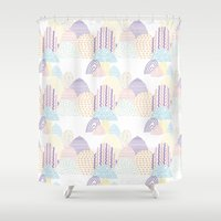 memphis Shower Curtains featuring Memphis pastel by Flor Tate