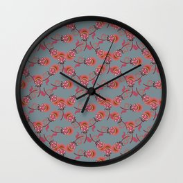 Dark floral pattern Wall Clock