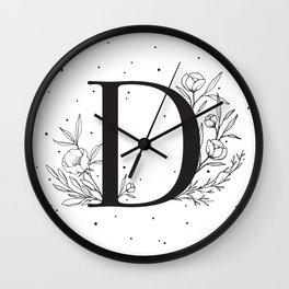 Black Letter D Monogram / Initial Botanical Illustration Wall Clock