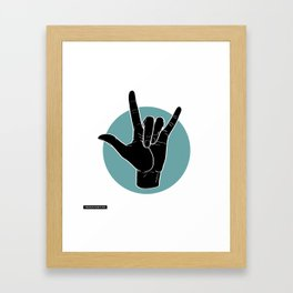 ILY - I Love You - Sign Language - Black on Green Blue 00 Framed Art Print