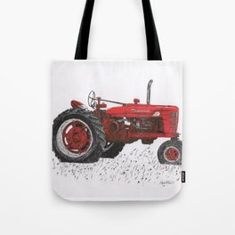 Farmall Super M, International Harvester Tractor Drawing Tote Bag