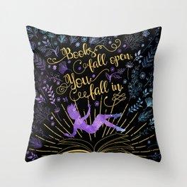 Books Fall Open - Gold Throw Pillow