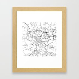 Krakow Map, Poland - Black and White Framed Art Print