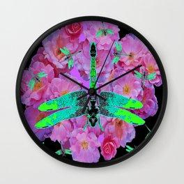 EMERALD DRAGONFLIES  PINK ROSES  BLACK COLOR Wall Clock