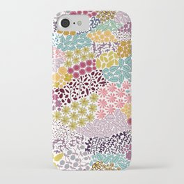 459-Colorful hand drawn ditsy retro floral cute pattern white background iPhone Case