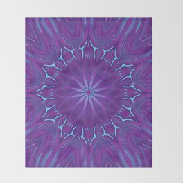 Pink, Purple, and Blue Flower Throw Blanket