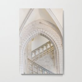 White steps   Stairs in a Belgian building   Travel photography wall art print Metal Print