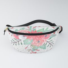 Pretty watercolor Christmas floral and dots design Fanny Pack