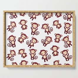 pattern with funny brown monkey boys and girls on white background. Vector illustration Serving Tray