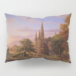 The Return Home medieval forest cathedral landscape painting by Thomas Cole Pillow Sham