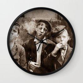 Newsboys Smoking - 1910 Child Labor Photo Wall Clock