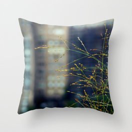 Wisps of Weeds in the City Throw Pillow