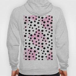 Modern abstract black pink watercolor polka dots Hoody