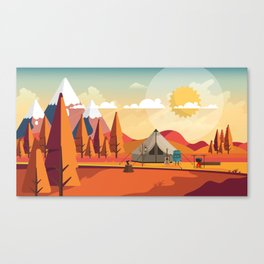 Wild Camping Autumn Landscape Canvas Print