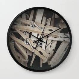 Wooden Clothespins 8 Wall Clock