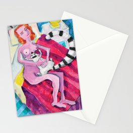 Woman Napping with Lemur Stationery Cards