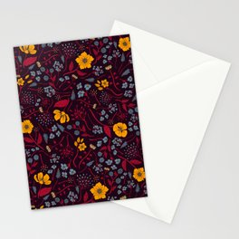 Mustard Yellow, Burgundy & Blue Floral Pattern Stationery Cards