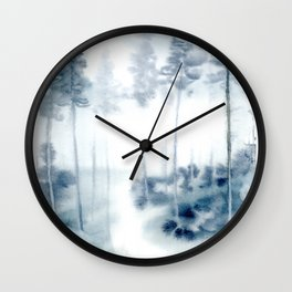 loose watercolor forest Wall Clock