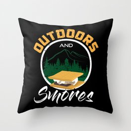 Camping and Smores Throw Pillow
