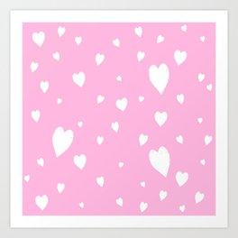 Hand-Drawn Hearts (White & Pink Pattern) Art Print