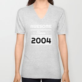 Awesome Since 2004 15th Years Old Shirt 15 Birthday Gift Unisex V-Neck