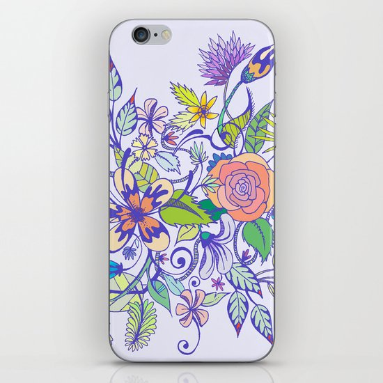 Floral Blue iPhone & iPod Skin