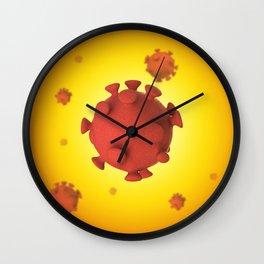 3D Virus - Red Orange Wall Clock