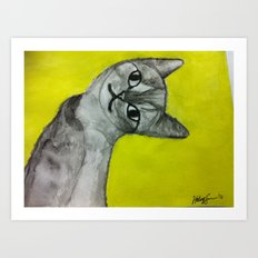 crooked kitty Art Print