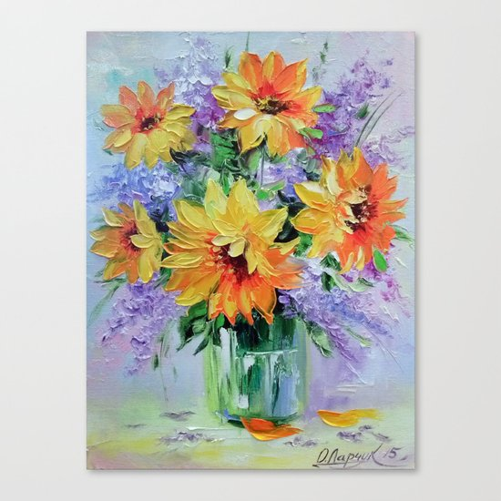 Bouquet of sunflowers Canvas Print