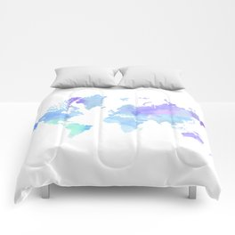 BLUE WATERCOLOR TRAVEL MAP Comforters