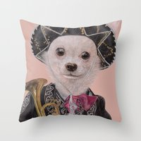 mexican Throw Pillows featuring Mexican Chihuahua by Rachel Waterman