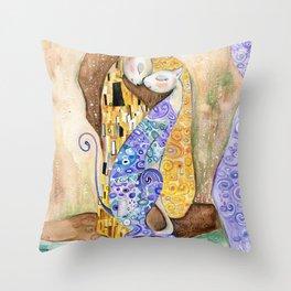 Cat. Inspired By Gustav Klimt Throw Pillow
